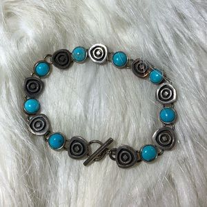 💖 Silver Bracelet With Turquoise Stones 💖